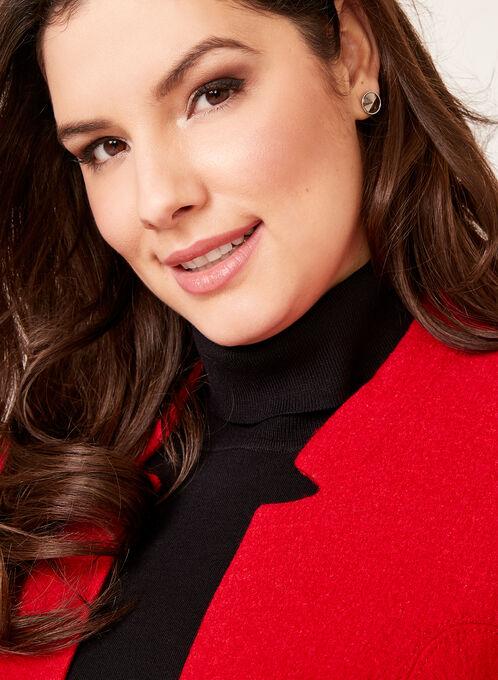 Zipper Trim Open Front Wool Jacket, Red, hi-res