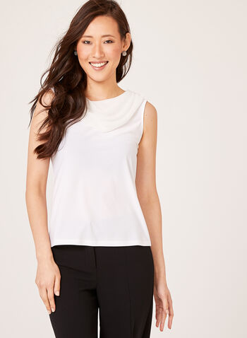 Draped Chiffon Crepe Top , Off White, hi-res