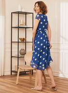 Dotted Print Flounce Trim Dress, Blue