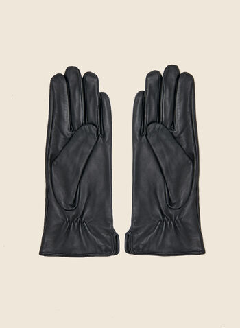 Two Tone Leather Gloves, Black,  fall winter 2020, gloves, accessory, leather, two-tone, contrasting, gifts, holiday, holiday 2020