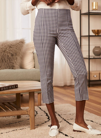 Gingham Print Pull-On Capris, Blue,  capris, pull-on, slim leg, gingham, made in Canada, spring summer 2021