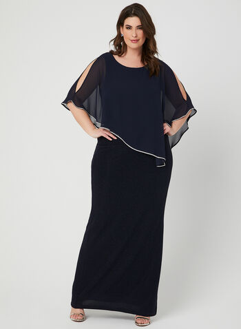 Frank Lyman - Chiffon Poncho Dress, Blue, hi-res,  Sleeveless, spring 2019