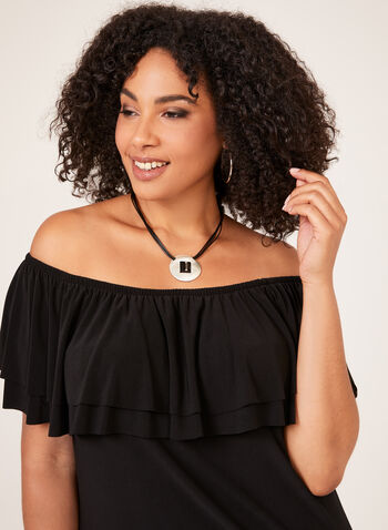 Off The Shoulder Jersey Dress, Black, hi-res