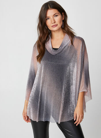Metallic Ombre Poncho Top, Purple, hi-res,  canada, 3/4 sleeves, top, poncho, metallic top, metallic, ombre, holiday, glitter top, fall 2019, winter 2019