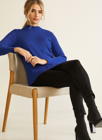 Ribbed Ruffled Neck Sweater, Blue,  fall winter 2020, sweater, top, knit, ribbed knit, textured knit, high collar, long sleeves, holiday