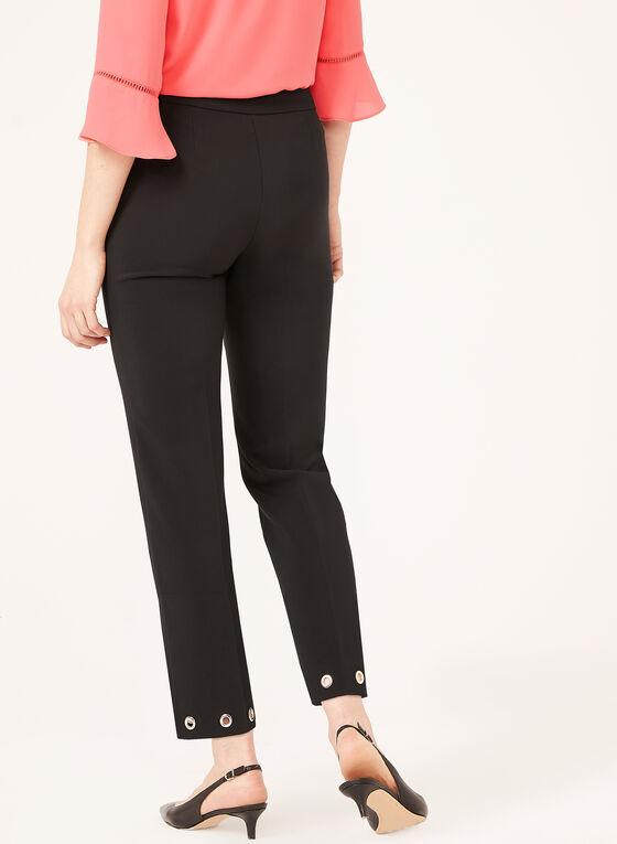 Pantalon coupe moderne à jambe droite avec œillets, Noir, hi-res