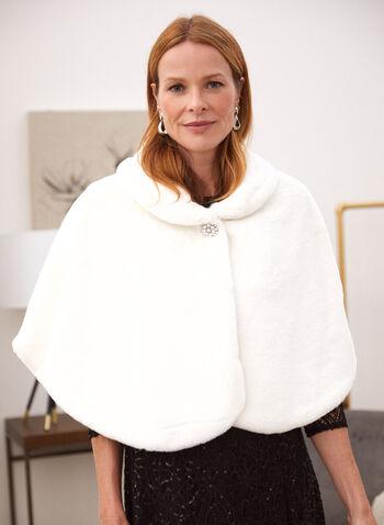 Short Faux Fur Cape, Off White,  Fall winter 2020, stole, cape, faux fur, crystals