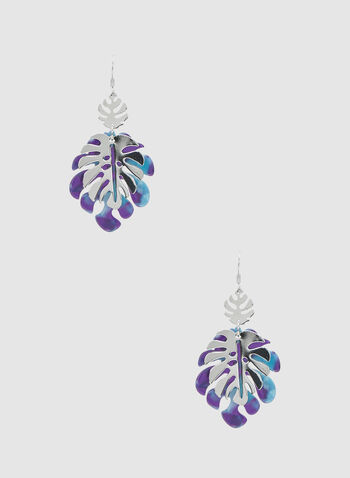 Leaf-Shaped Dangle Earrings, Blue, hi-res