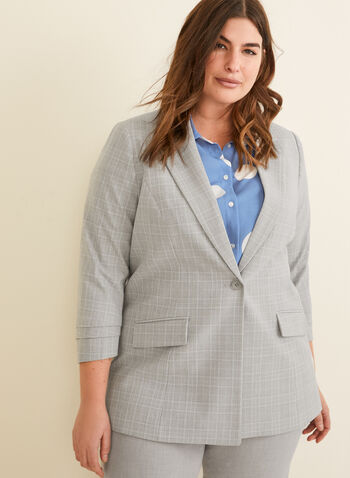 Plaid Print Suit Jacket, Grey,  plaid print, plaid, jacket, plaid jacket, suit, suiting, pantsuit, one button jacket, 3/4 sleeves, spring 2020, summer 2020