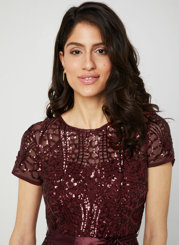 Long Sequin Mesh Dress, Red, hi-res