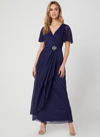 Cascading Glitter Dress, Blue, hi-res,  occasion dress, V-neck, glitter, brooch, fall 2019, winter 2019