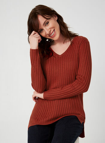 Ribbed V-Neck Sweater, Red,  sweater, knit, ribbed, long sleeves, V-neck, fall 2019, winter 2019