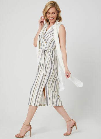 Emma & Michele - Stripe Print Linen Dress, Brown, hi-res