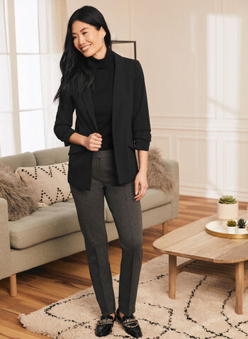 Modern Fit Houndstooth Pants, Black,  fall winter 2020, straight leg, houndstooth, print, modern fit