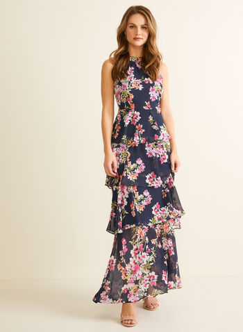 Tiered Floral Maxi, Blue,  spring summer 2020, sleeveless, maxi, chiffon, floral print, tiered