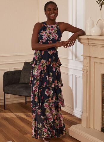 Robe en mousseline fleurie étagée, Bleu,  robe de soirée, mousseline, étagée, fleurs, sans manches, col cléopâtre, printemps été 2020