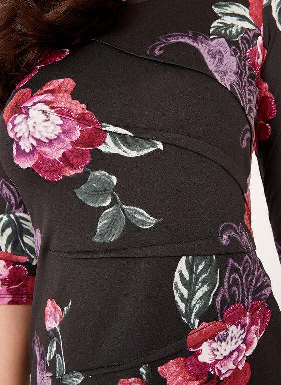 Haut manches ¾ fleuri à effet plissé , Violet, hi-res