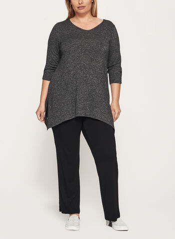 3/4 Sleeve Tunic Top , Grey, hi-res