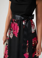 Rose Print Chiffon Dress, Black, hi-res
