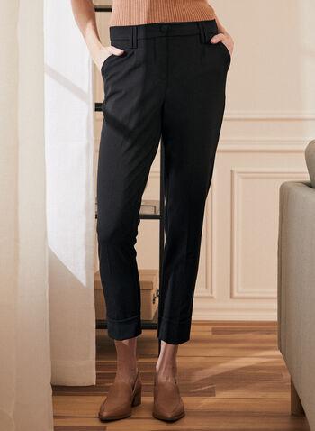 Pantalon à jambe étroite et ourlet plié , Noir,  pantalon, jambe étroite, plis, ourlets, ganses, poches, élastiques, automne hiver 2020
