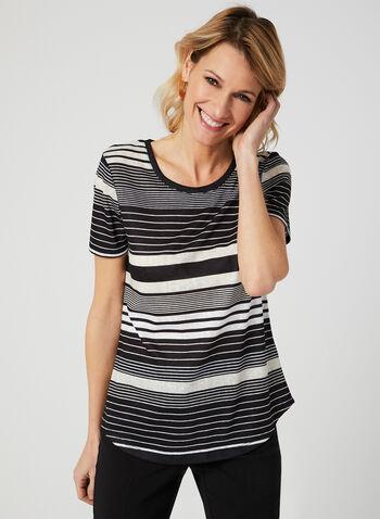 Stripe Print T-Shirt, Black, hi-res,  Spring 2019, t-shirt, stripe print, short sleeves