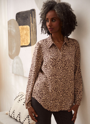 Chemisier léopard à manches longues, Brun,  haut, blouse, tunique, chemisier, col chemisier, manches longues, boutons, motif, imprimé, léopard, animal, automne 2021