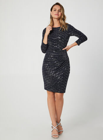 Glitter Sequin Dress, Blue,  dress, cocktail dress, glitter, sequins, 3/4 sleeves, long sleeves, fall 2019, winter 2019