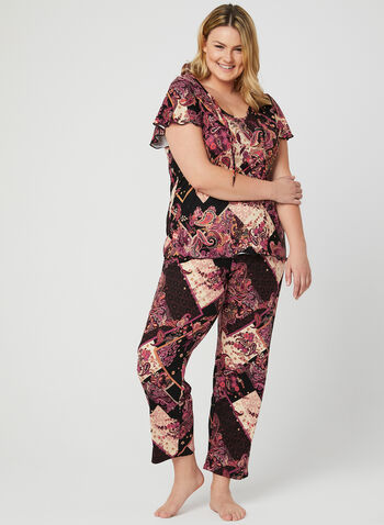Mixed Print 2-Piece Pyjama Set, Black, hi-res