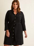 3/4 Sleeve Shirt Dress, Black