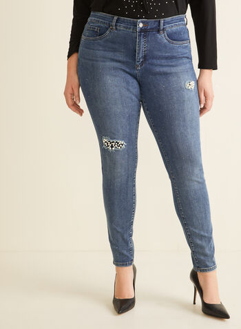 Joseph Ribkoff - Pearl Detail Distressed Jeans, Blue,  jeans, straight leg, denim, stretchy, rhinestones, pearls, distressed, 5 pockets, spring summer 2020