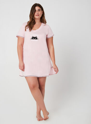 René Rofé - Short Sleeve Nightgown, Pink, hi-res,  fall winter 2019, cotton, short sleeves
