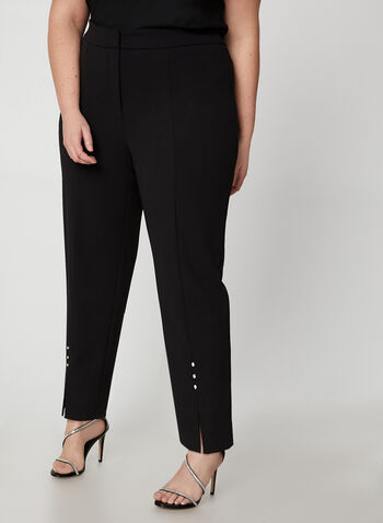 Frank Lyman - Crystal Detail Pants, Black,  ankle pants