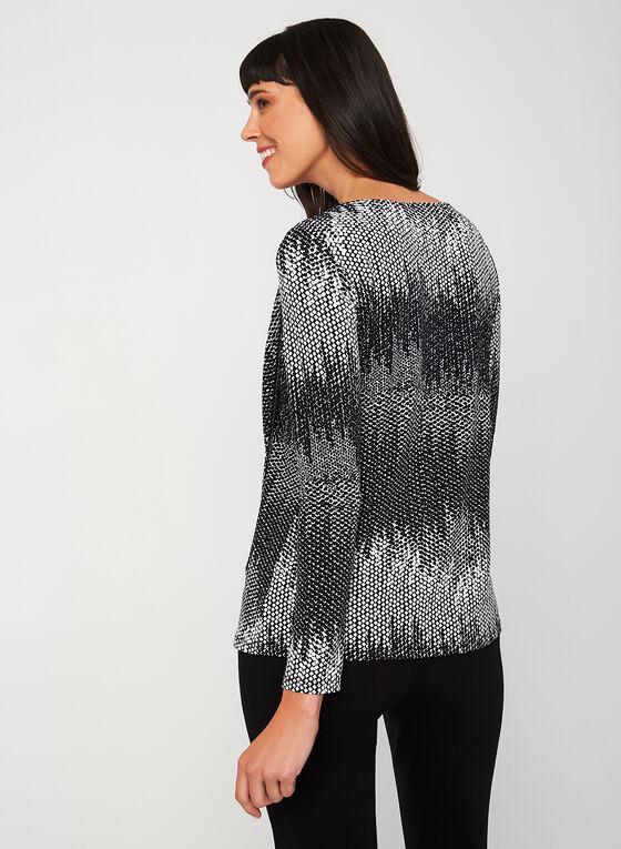 Long Sleeve Abstract Print Top, Black
