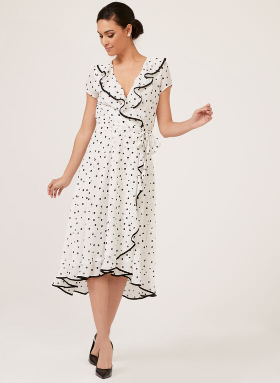 Dot Print Ruffle Trim Dress, White, hi-res