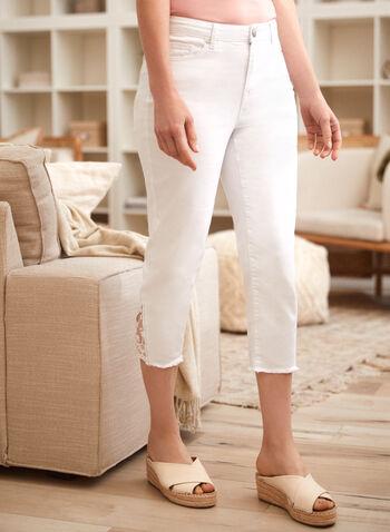 Lace Detail Denim Capris, White,  spring summer 2021, jeans, denim, lace, slim fit, mid rise, frill, metal rivets, zipper,