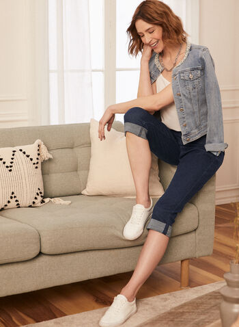 Carreli Jeans - Capri pull-on en denim, Bleu,  printemps été 2020, capri, denim, pull-on, taille élastique, poches, Carreli Jeans
