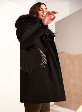 Faux Fur Trim Asymmetrical Coat, Black,  fall winter 2020, vegan down, stand collar, oversized hood, large hood, faux fur trim, long sleeve, ribbed, knit cuffs, two way zipper, asymmetric, asymmetrical, pocket, water repellent, vegan leather, faux leather, inside vest, warm, machine washable, laura exclusive