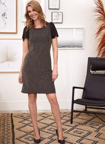 Metallic Knit Chiffon Sleeve Dress, Black,  fall winter 2020, metallic, sheer, tulip sleeve, chiffon, short sleeve, knit, dress, occasion, scoop neck, shine, comfort, midi, made in canada, lurex