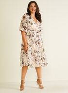 Floral Print Balloon Sleeve Dress, Pink