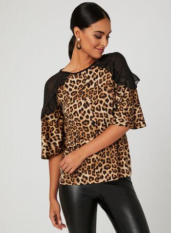 Haut motif léopard à manches cloche, Noir, hi-res
