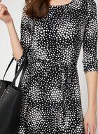 Geometric Print Jersey Dress, Black, hi-res