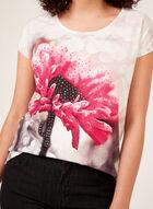 T-shirt à fleur et strass sur le devant et rayures au dos, Multi, hi-res