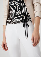 Abstract Print Drawstring Top, Black, hi-res