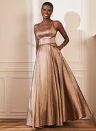 Metallic Glitter Ball Gown, Gold