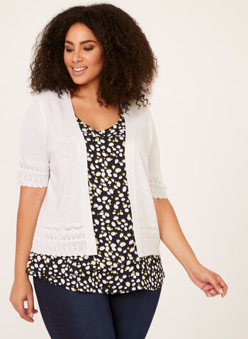 Pointelle Trim Bolero, White, hi-res