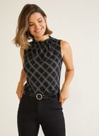 Sleeveless Smocked Neck Top, Black