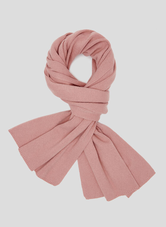 Ribbed Knit Scarf, Pink, hi-res