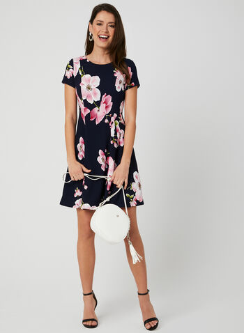 Floral Print Fit & Flare Dress, Blue, hi-res,  floral print, short sleeves, fit and flare, spring 2019