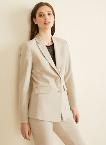Two-Button Notch Collar Jacket, Off White,  jacket, two buttons, notch collar, lined, shoulder pads, pockets, spring summer 2020