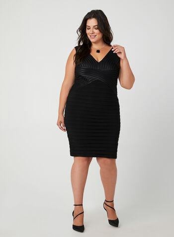 Plunging Neckline Cocktail Dress, Black, hi-res,  plissé skirt, v-neck cocktail dress